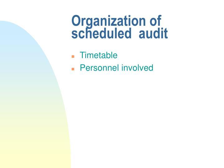 Organization of scheduled  audit