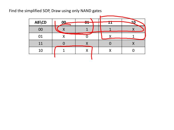Find the simplified SOP, Draw using only NAND gates