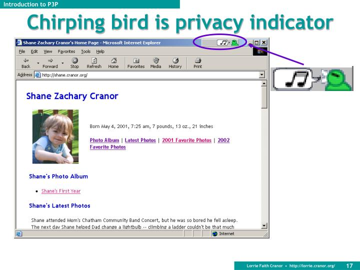 Chirping bird is privacy indicator