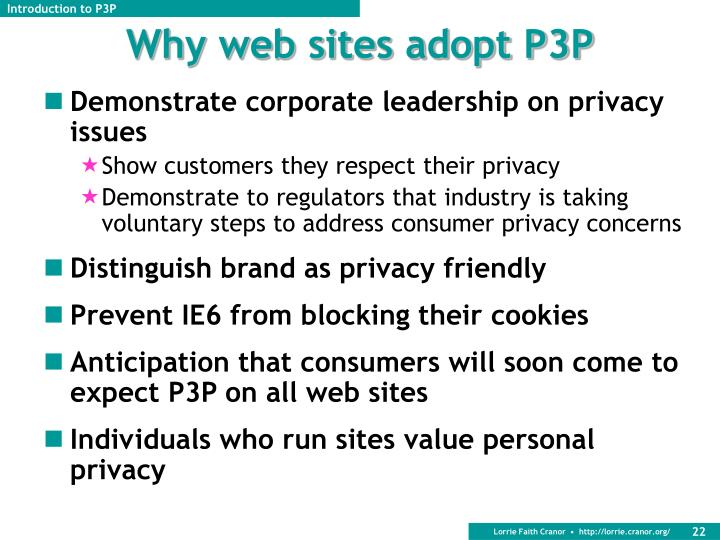 Why web sites adopt P3P