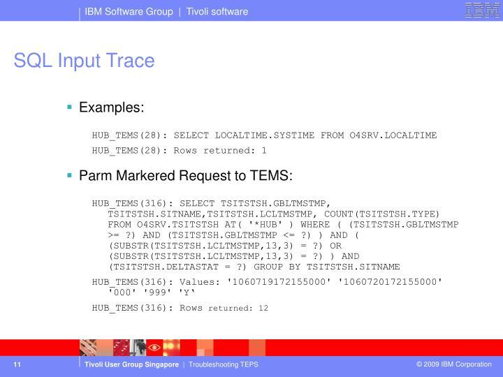 SQL Input Trace