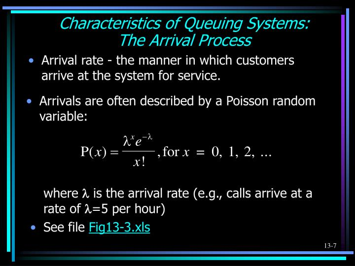 Arrivals are often described by a Poisson random variable: