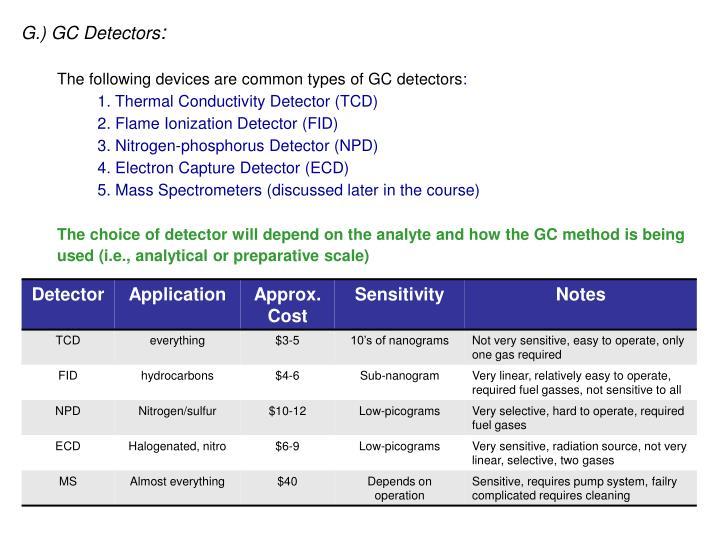 G.) GC Detectors