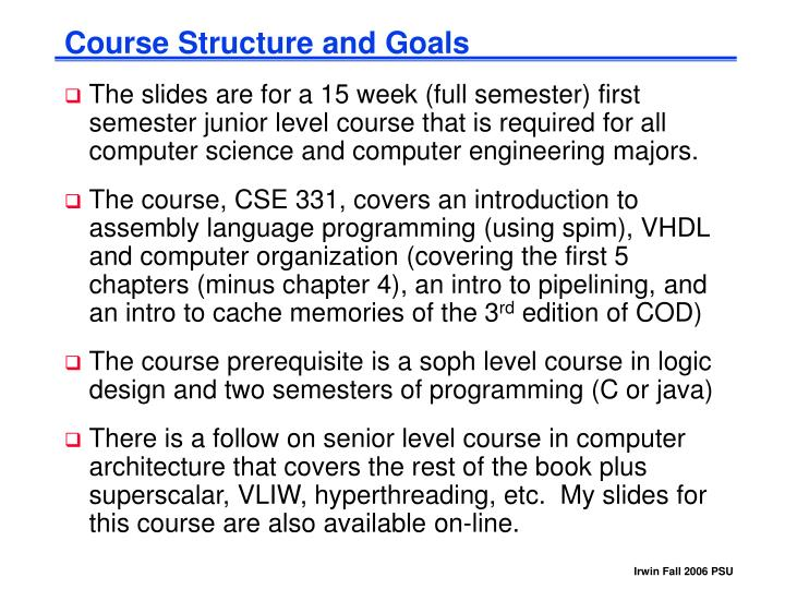 Course structure and goals