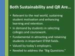 both sustainability and qr are