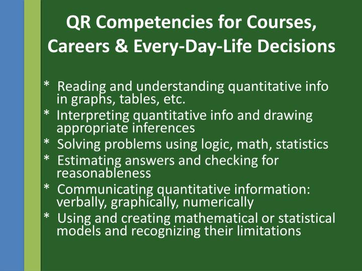QR Competencies for Courses, Careers & Every-Day-Life Decisions