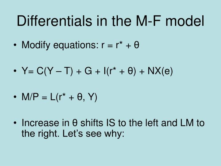 Differentials in the M-F model