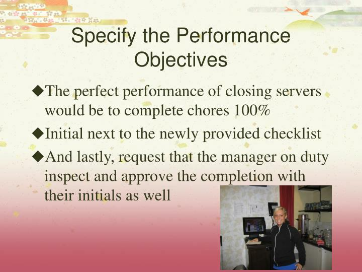 Specify the Performance Objectives