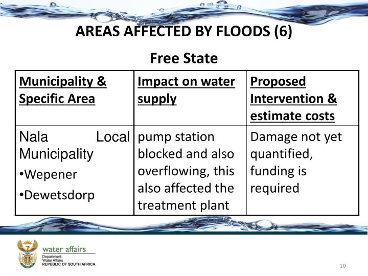 AREAS AFFECTED BY FLOODS (6)