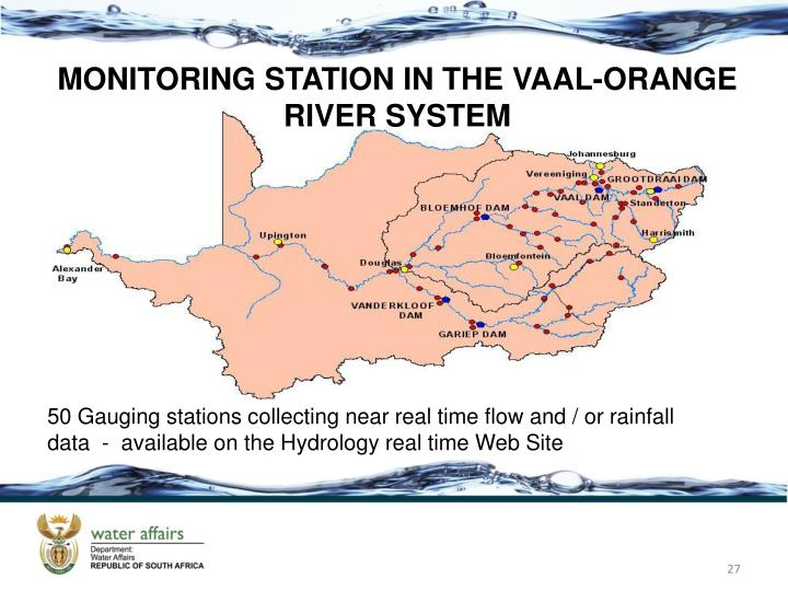 MONITORING STATION IN THE VAAL-ORANGE RIVER SYSTEM