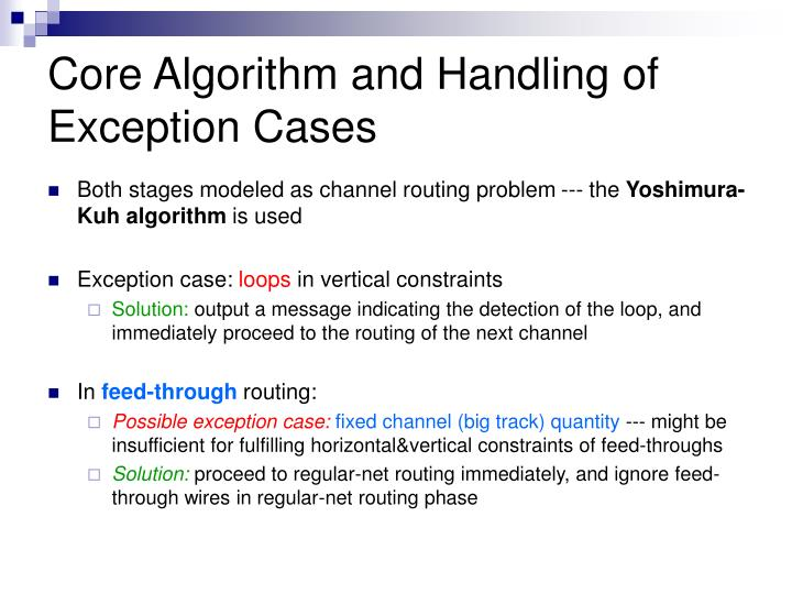 Core Algorithm and Handling of Exception Cases
