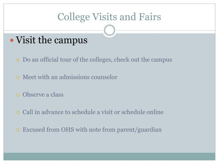College Visits and Fairs