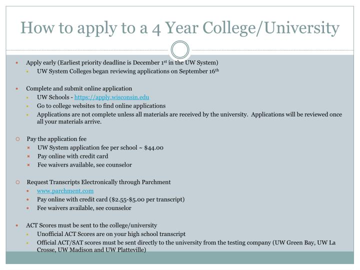 How to apply to a 4 Year College/University