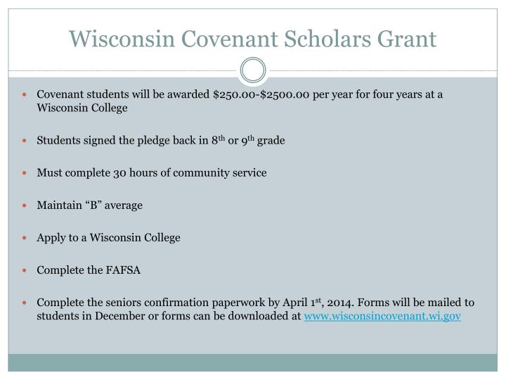 Wisconsin Covenant Scholars Grant