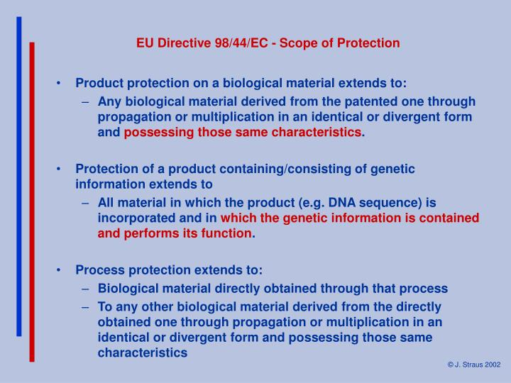 EU Directive 98/44/EC - Scope of Protection