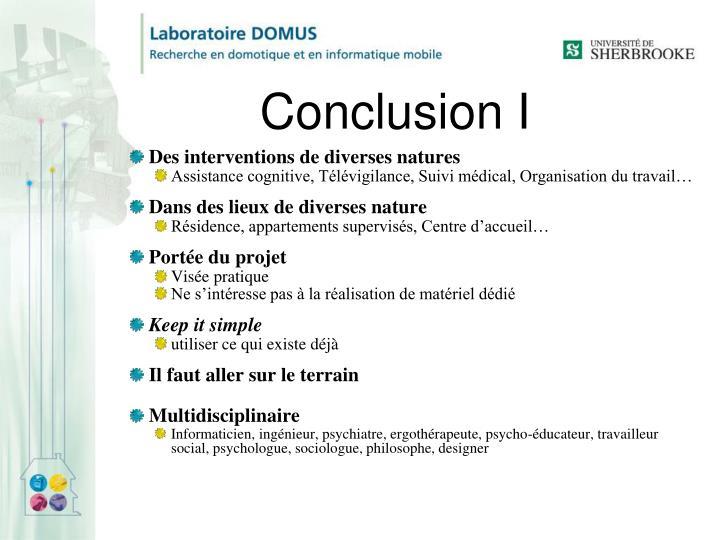 Conclusion I
