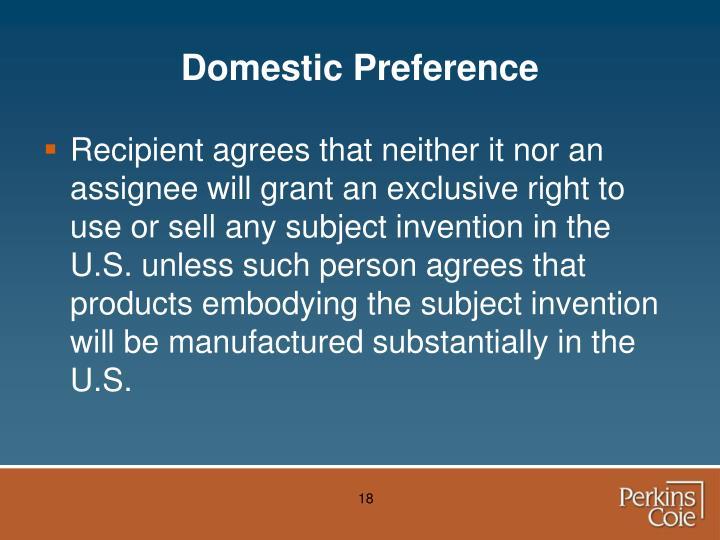 Domestic Preference