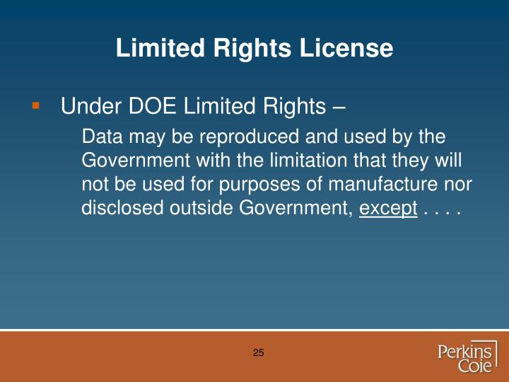 Limited Rights License