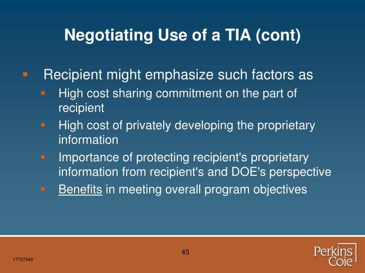 Negotiating Use of a TIA (cont)