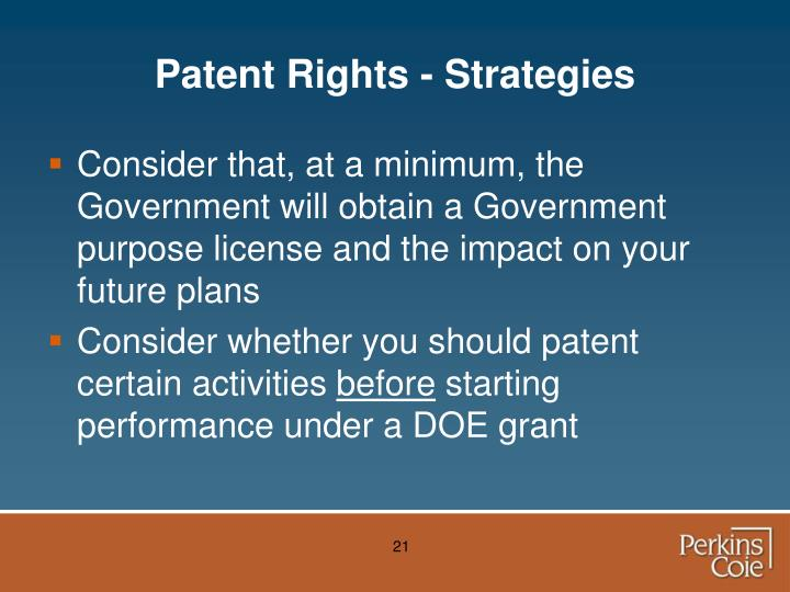 Patent Rights - Strategies