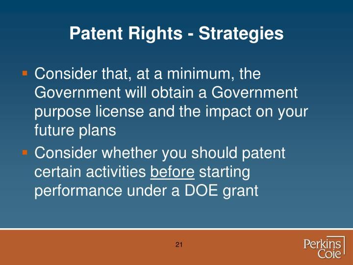 Patent Rights - Strategies