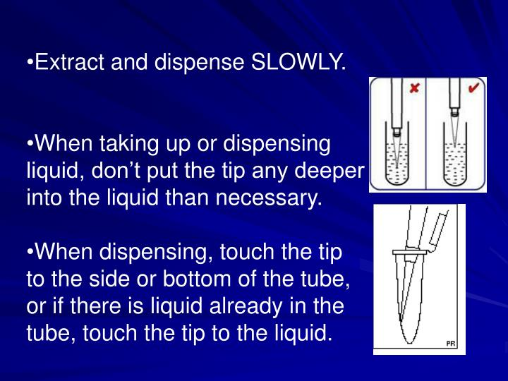 Extract and dispense SLOWLY.