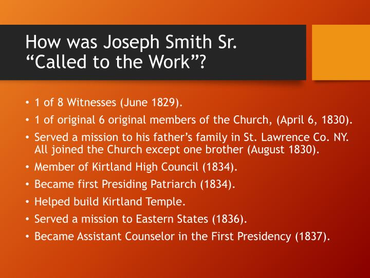 "How was Joseph Smith Sr. ""Called to the Work""?"