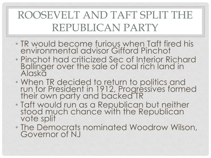 Roosevelt and Taft Split the Republican Party