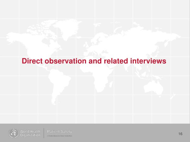 Direct observation and related interviews