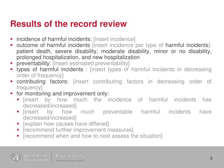 Results of the record review