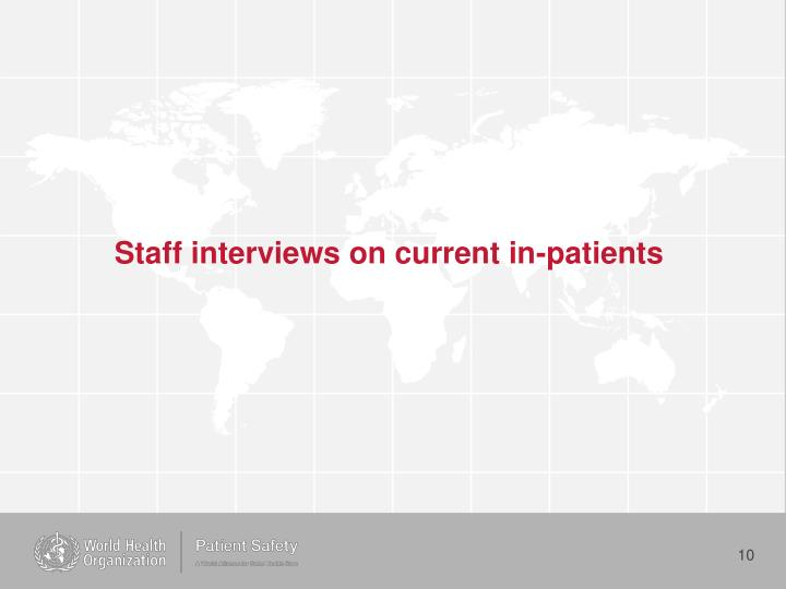 Staff interviews on current in-patients