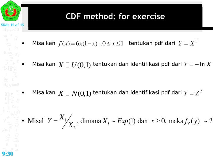 CDF method: for exercise