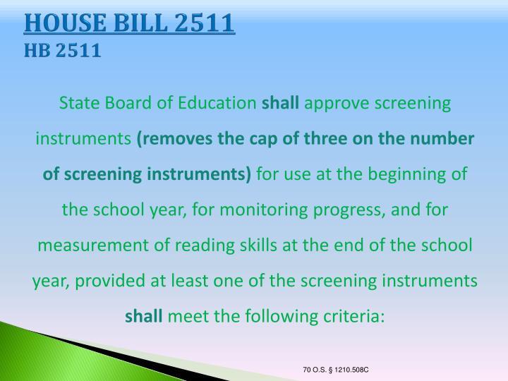 HOUSE BILL 2511