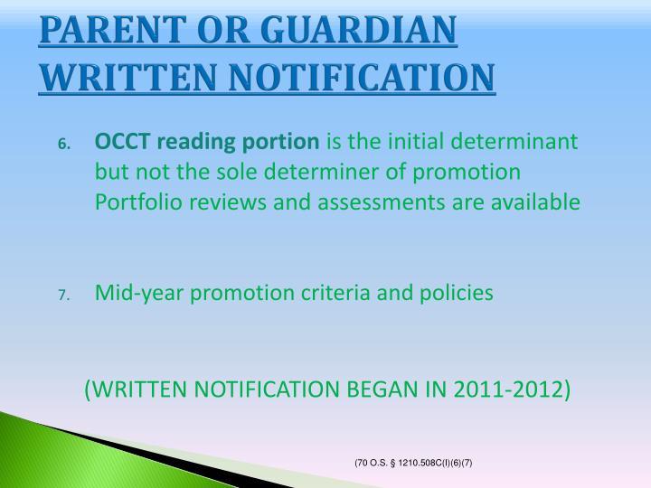 PARENT OR GUARDIAN WRITTEN