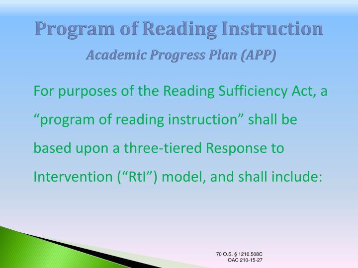 Program of Reading Instruction