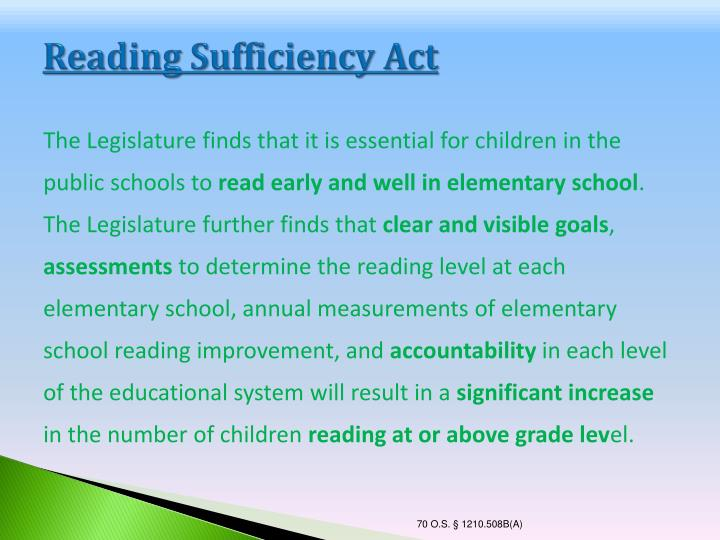 Reading Sufficiency Act