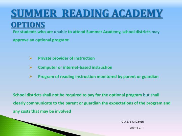 SUMMER  READING ACADEMY