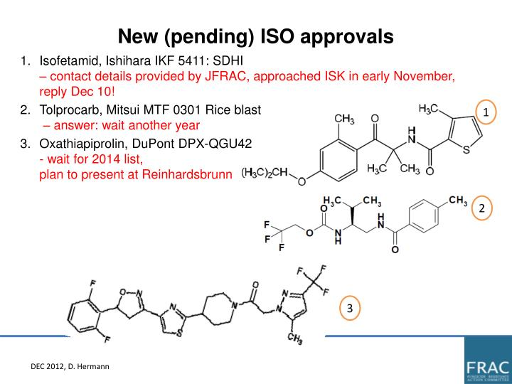New (pending) ISO approvals