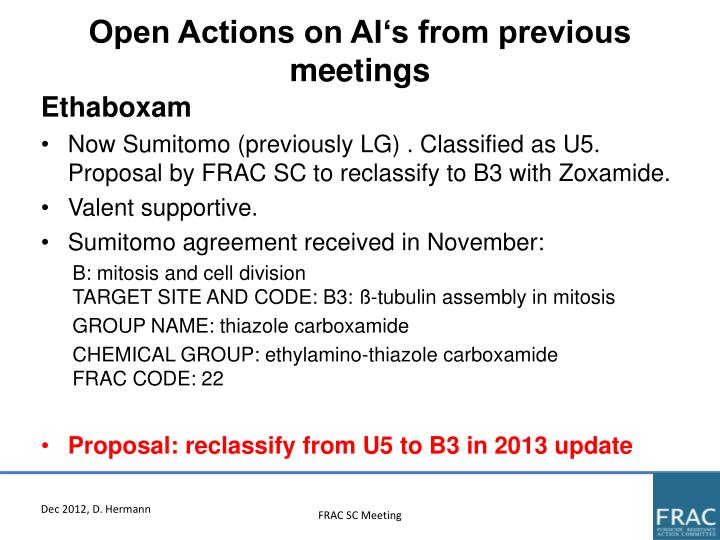 Open Actions on AI's from previous meetings