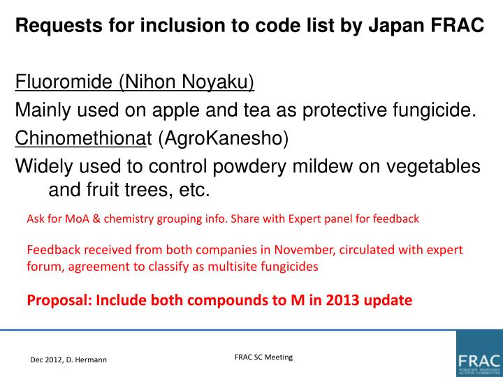 Requests for inclusion to code list by Japan FRAC