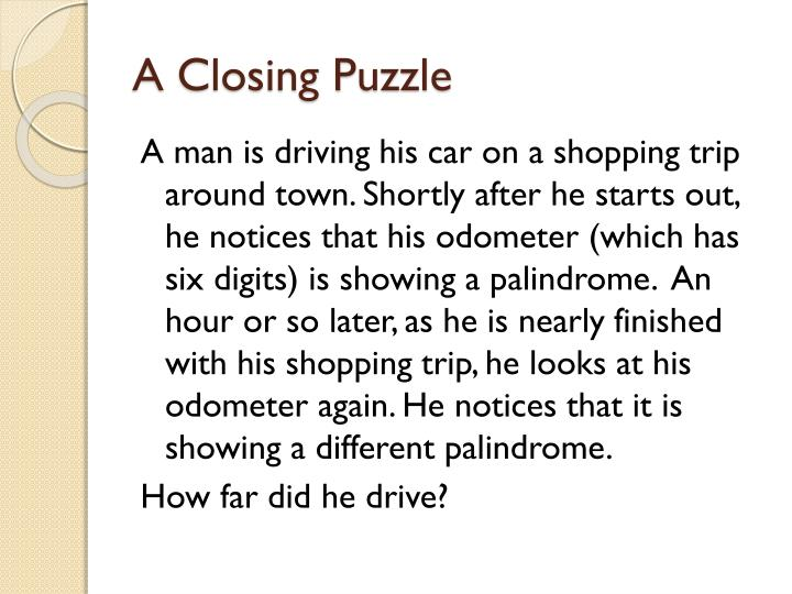 A Closing Puzzle