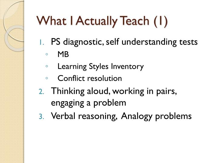 What I Actually Teach (1)