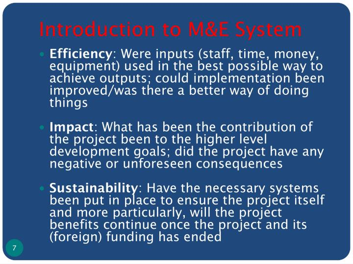 Introduction to M&E System