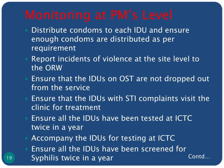 Monitoring at PM's Level