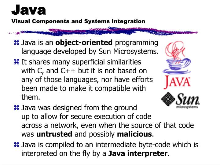 Java visual components and systems integration