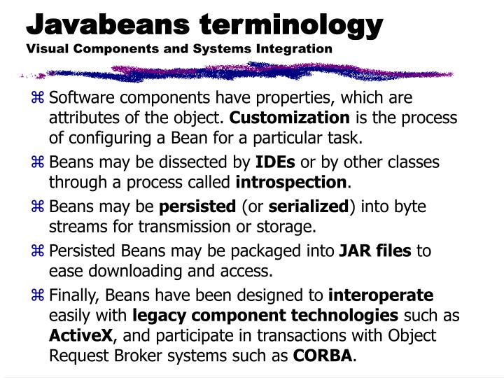 Javabeans terminology