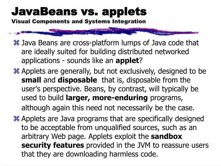 JavaBeans vs. applets