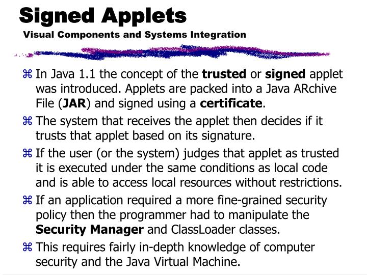 Signed Applets