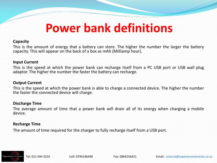 Power bank definitions