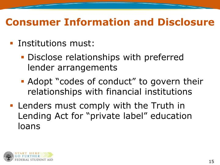 Consumer Information and Disclosure